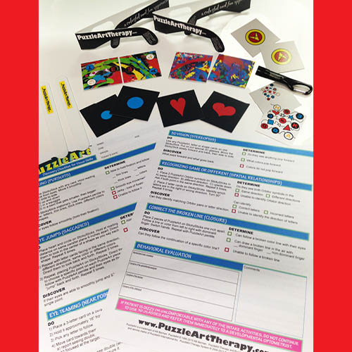 PuzzleArt Therapy Discovery ToolKit – Visual Skills Screening & Sticky Stick Program - WITH RED