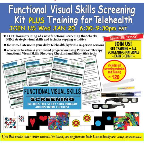 Telehealth Functional Visual Skills Discovery Checklist SCREENING KIT PLUS TRAINING 1.20.2021